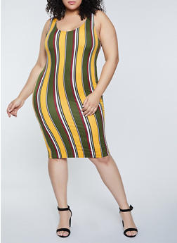 Plus Size Vertical Striped Tank Dress - 1390058750971