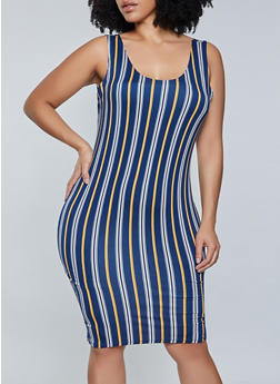 Plus Size Vertical Stripe Midi Tank Dress - 1390058750973