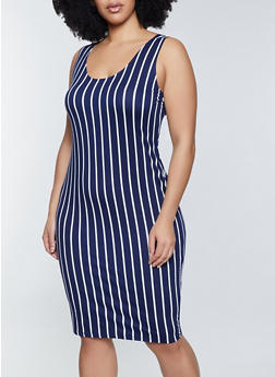 Plus Size Vertical Stripe Bodycon Dress - 1390058750974