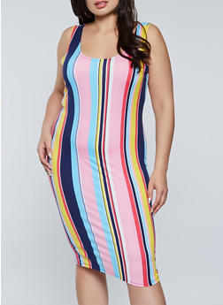 Plus Size Striped Midi Tank Dress - 1390058750977