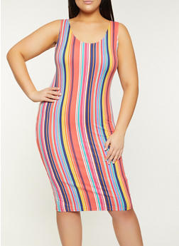 Plus Size Multi Stripe Tank Dress - 1390058750978