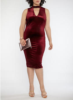 Plus Size Velvet Choker Neck Midi Dress - 1390058751850
