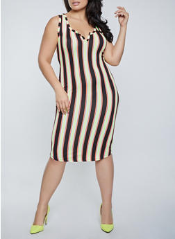 Plus Size Vertical Stripe Midi Dress - 1390058751970