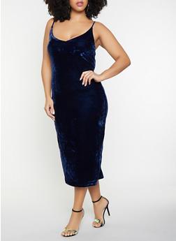 Plus Size Velvet Midi Dress - 1390058752200