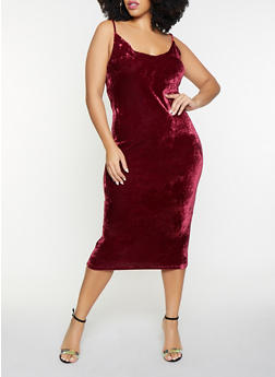 Plus Size Velvet Midi Dress - 1390058752200