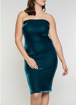 Plus Size Velvet Tube Dress - 1390058752201