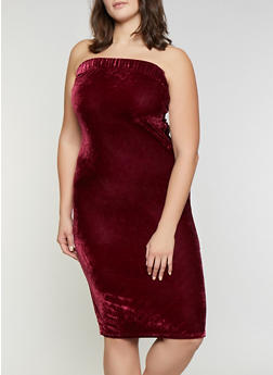 Plus Size Velvet Tube Dress - 1390058752201