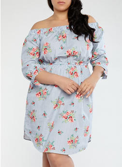 Plus Size Striped Floral Off the Shoulder Dress - 1390058752403