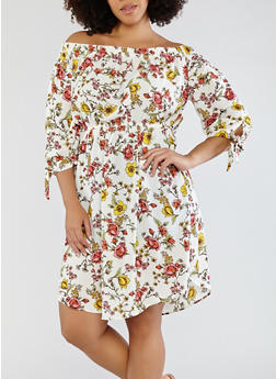 Plus Size Floral Off the Shoulder Dress - 1390058752405