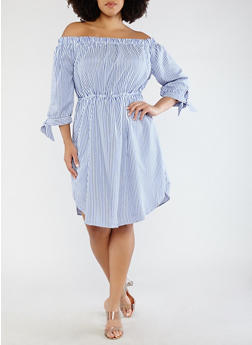 Plus Size Striped Tie Sleeve Off the Shoulder Dress - 1390058752408