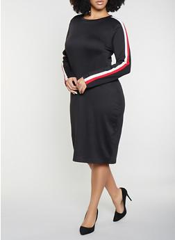 Plus Size Striped Sleeve Sweatshirt Dress - 1390058752724