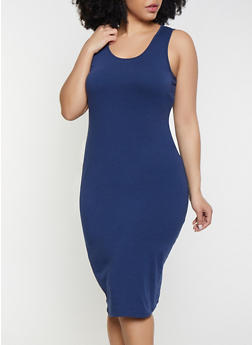 9e389ba6d1 Plus Size Solid Tank Dress