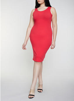 febcadbbba53b Plus Size Solid Tank Dress