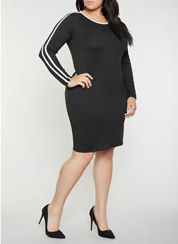 Plus Size Varsity Stripe T Shirt Dress - 1390058752796