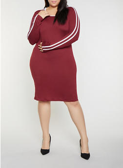 Plus Size Varsity Stripe T Shirt Dress - 1390058752796