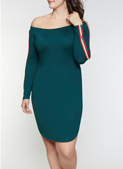 Plus Size Tape Trim Off the Shoulder Dress - 1390058752798