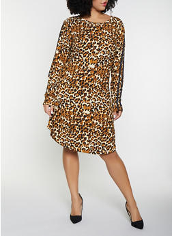 Plus Size Leopard Print T Shirt Dress - 1390058752799