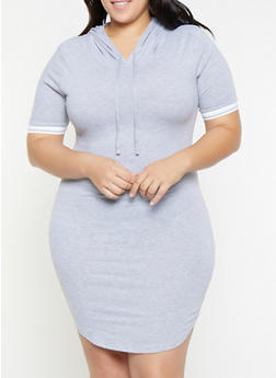 Plus Size Elastic Trim Hooded T Shirt Dress - 1390058752800