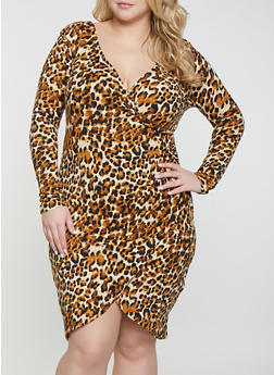 Plus Size Leopard Faux Wrap Dress - 1390058752801