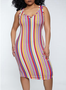 Plus Size Racerback Striped Tank Dress - 1390058752970