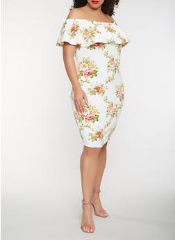 Plus Size Floral Off the Shoulder Dress - 1390058753203