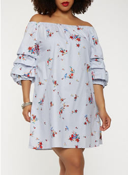 Plus Size Off the Shoulder Tiered Sleeve Dress - 1390058753400