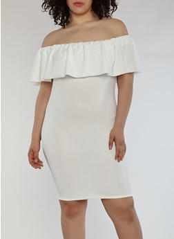 Plus Size Crepe Knit Off the Shoulder Dress - WHITE - 1390058753505