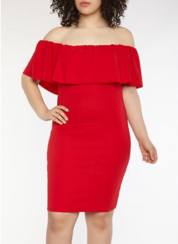 Plus Size Crepe Knit Off the Shoulder Dress - BURGUNDY - 1390058753505