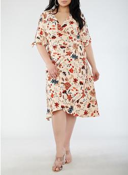 Plus Size Floral Split Sleeve Wrap Dress - 1390058753525