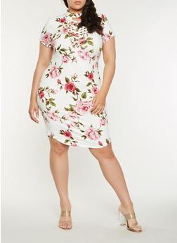 Plus Size Floral Lace Up Bodycon Dress - 1390058753550