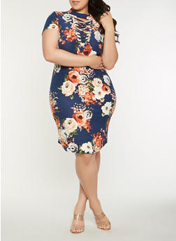 Plus Size Lace Up Floral Midi Dress - 1390058753551