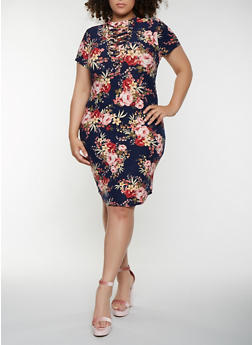 Plus Size Lace Up Floral Bodycon Dress - 1390058753552