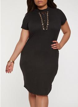 Plus Size Lace Up T Shirt Dress - BLACK - 1390058753560