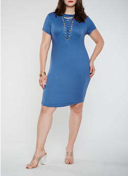 Plus Size Lace Up T Shirt Dress - 1390058753560