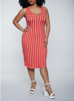 Plus Size Striped Racerback Midi Tank Dress - 1390058753970