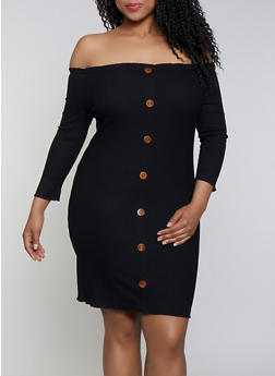 Plus Size Button Ribbed Knit Off the Shoulder Dress - 1390058754039