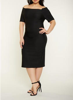 Plus Size Bandage Off the Shoulder Dress - 1390058754121