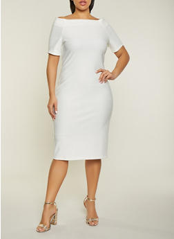 Plus Size Bandage Off the Shoulder Dress - 1390058754121