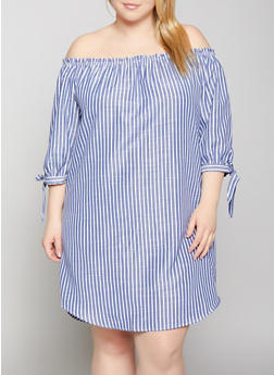 Plus Size Tie Sleeve Off the Shoulder Linen Dress - 1390058754209