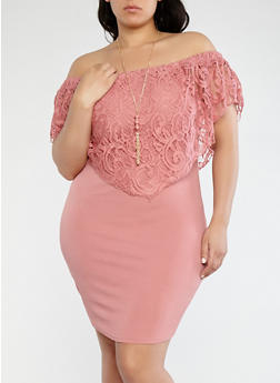 Plus Size Off the Shoulder Dress with Necklace - 1390058754217