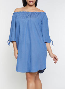 Plus Size Off the Shoulder Peasant Dress - 1390058754620