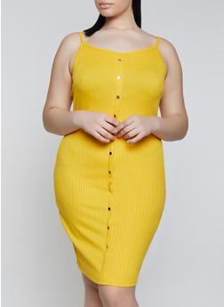 Plus Size Ribbed Knit Cami Dress - 1390058754623