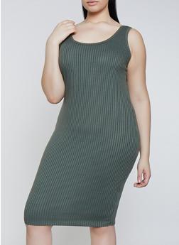 Plus Size Ribbed Knit Tank Dress | 1390058754624 - 1390058754624