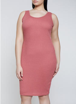 Plus Size Ribbed Knit Tank Dress | 1390058754624 - 1390058754624