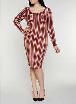 Plus Size Striped Bodycon Dress - 1390058754627