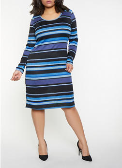 Plus Size Striped Sweater Dress - 1390058754628