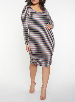 Plus Size Striped Rib Knit Sweater Dress - 1390058754629