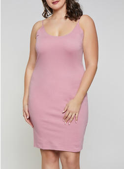 Plus Size Ponte Midi Tank Dress - 1390058754631