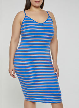 Plus Size Striped V Neck Cami Dress - 1390058754635