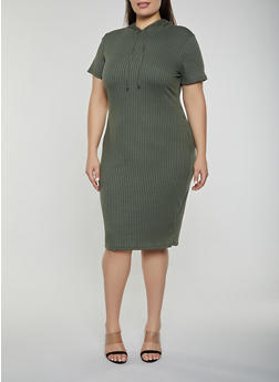 Plus Size Hooded Rib Knit Dress - 1390058754636